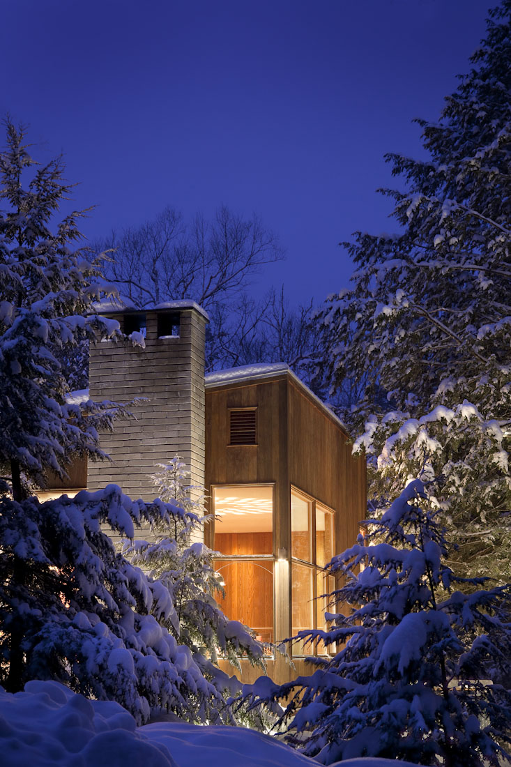 Residential Exterior Lit up on a Winter Night
