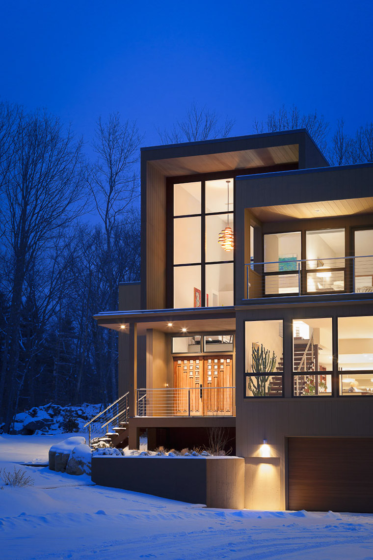 Residential Exterior in Winter with Lights