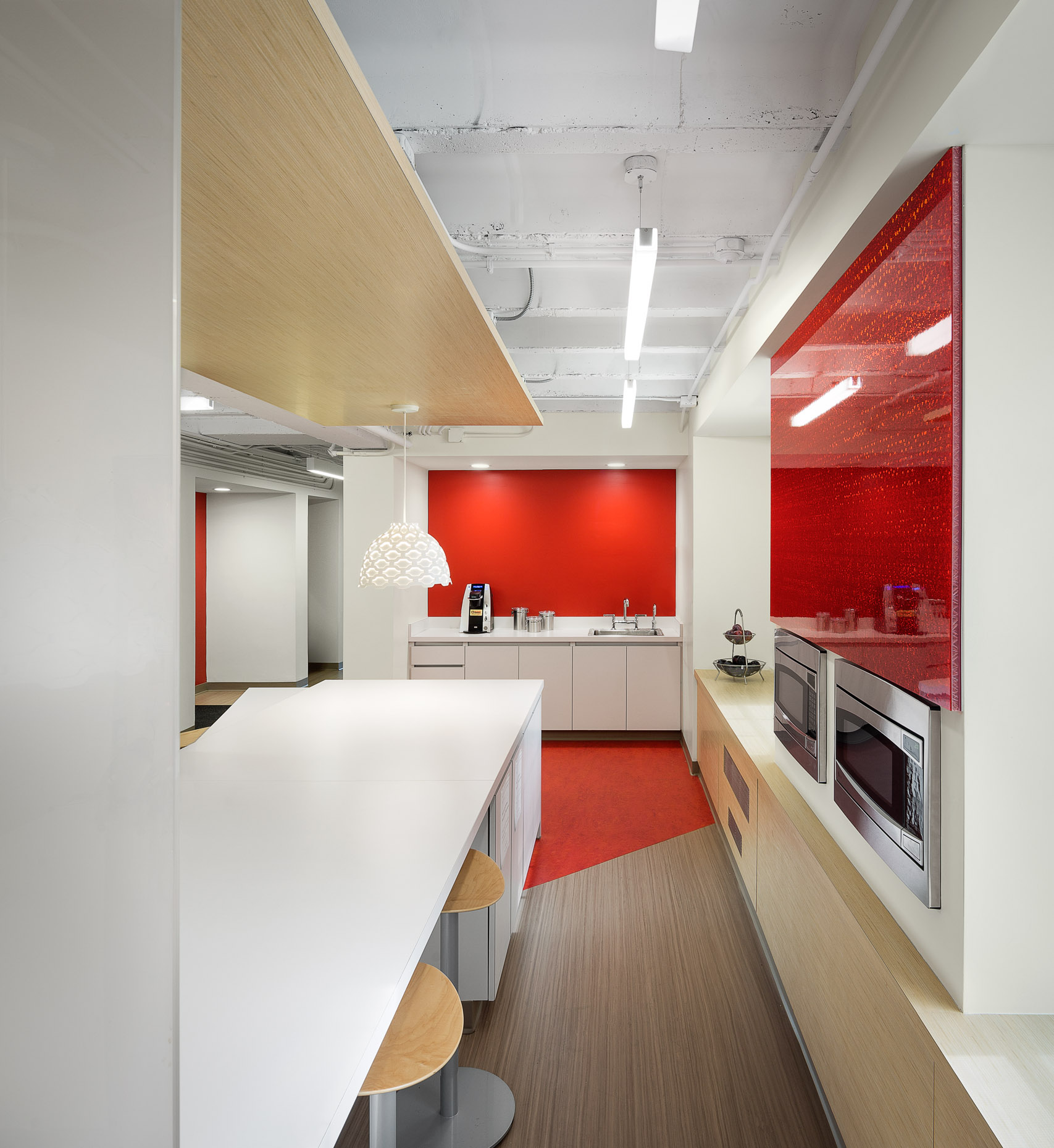 Bright Red Office Kitchen