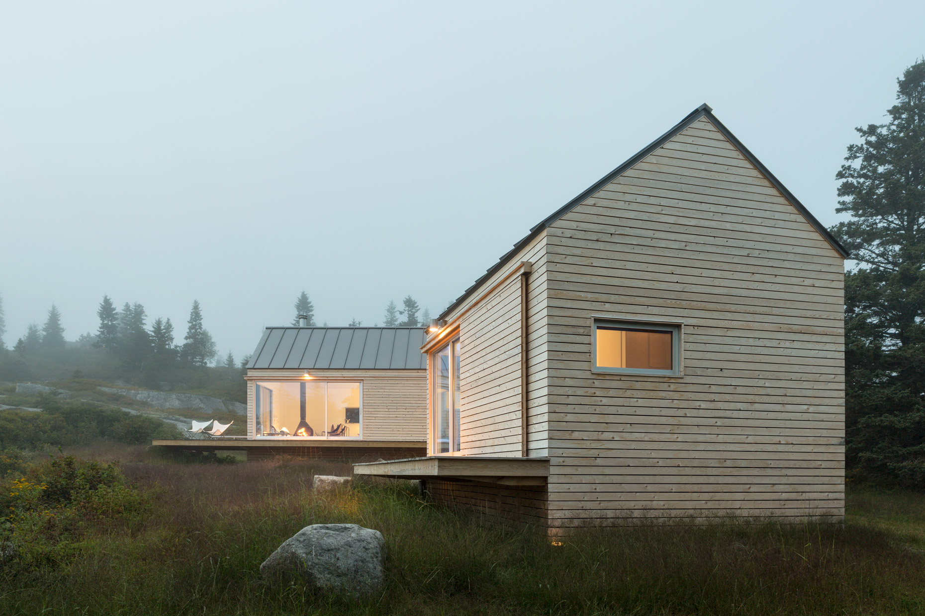 Two Dwellings on a Foggy Evening