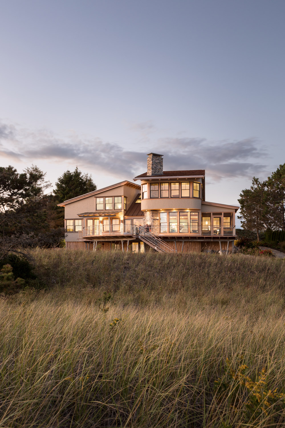 Beachfront Residence at Dusk